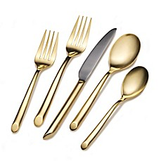 image of Towle® Living Wave Gold 20-Piece Flatware Set