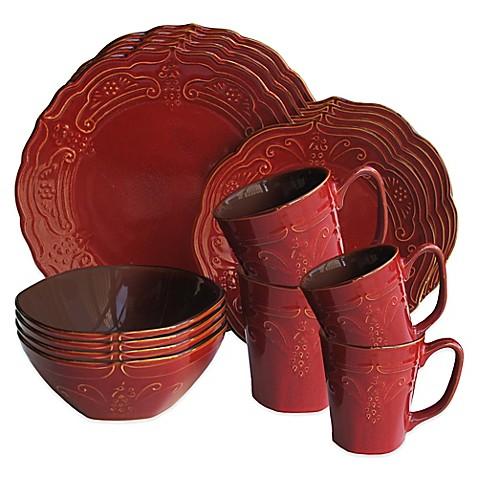 American Atelier Napa 16 Piece Dinnerware Set In Red Bed