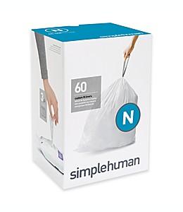 Bolsas ajustables de basura Simplehuman®, código N con capacidad de 45-50 L en blanco, Paquete de 60 pzas.