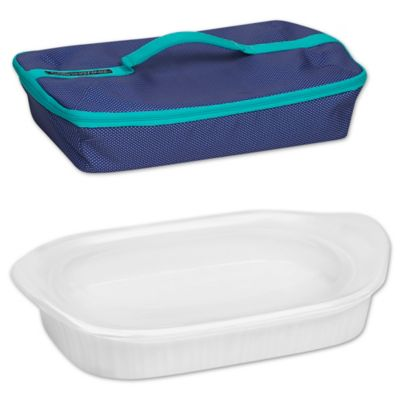CorningWare French White 3 qt Baking Dish with Lid and Portable
