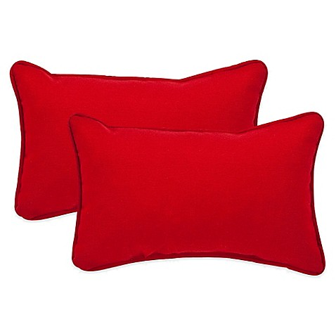 Red Throw Pillow For Bed : Pompeii Red Oblong Throw Pillow (Set of 2) - Bed Bath & Beyond