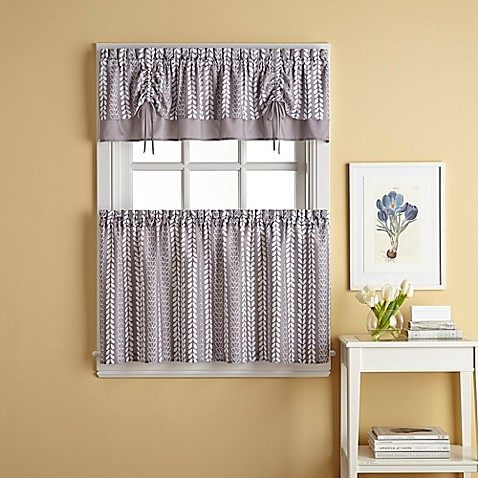 Bloom Window Curtain Tier Pair In Grey Bed Bath Amp Beyond