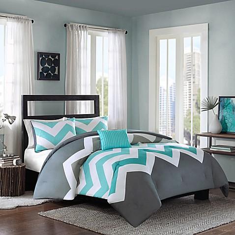 Cade Reversible Comforter Set In Aqua Bedbathandbeyond Com