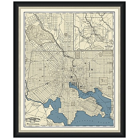 Buy framed map of baltimore md wall d cor from bed bath for Baltimore glassware decorators