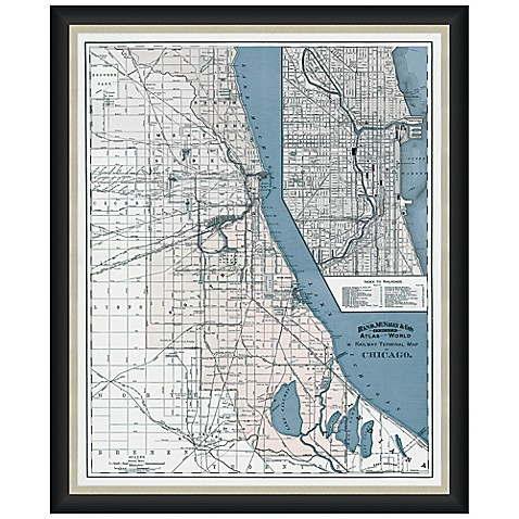 Buy framed chicago il map wall d cor from bed bath beyond for Beyond the wall mural design