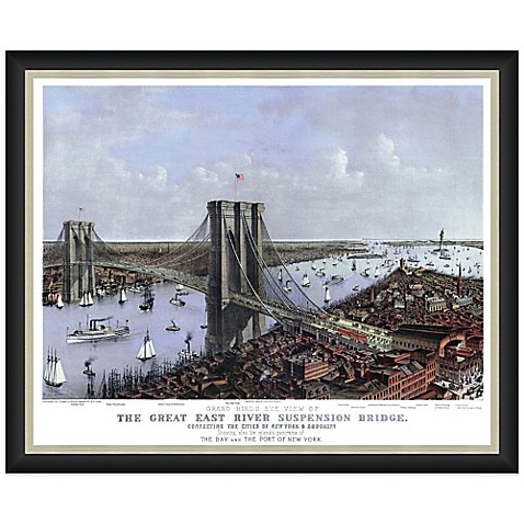 Framed bird 39 s eye view of the brooklyn bridge wall d cor for Beyond the wall mural design