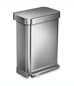 Bote de basura de acero inoxidable cepillado Simplehuman® rectangular, 55 L
