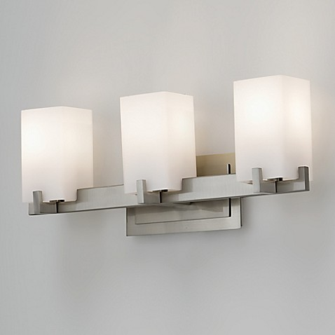 Buy Feiss Riva 3 Light Wall Mount Vanity Light In Brushed Steel With Glass Shades From Bed Bath