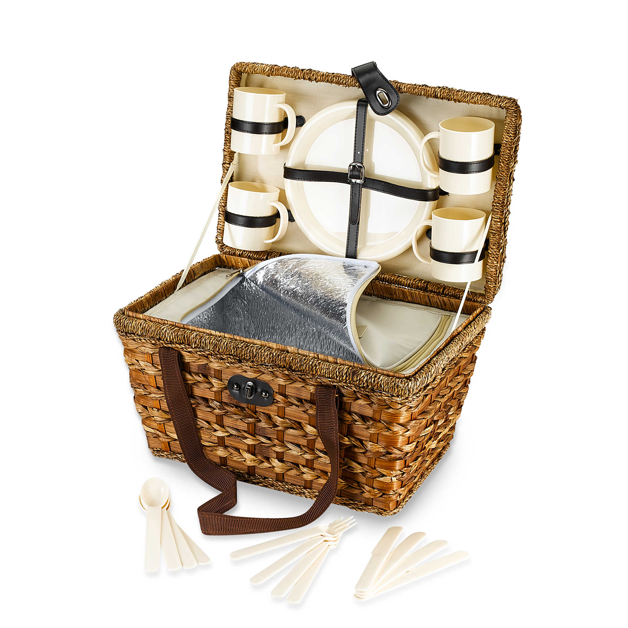 Bamboo 21 Piece Insulated Picnic Basket. Bamboo 21 Piece Insulated Picnic Basket   Bed Bath   Beyond