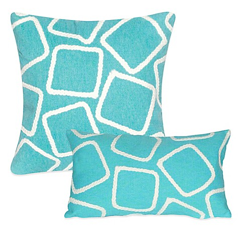Liora Manne Squares Outdoor Throw Pillow in Aqua - Bed Bath & Beyond
