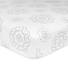 image of Just Born® Ruffled Medallions Fitted Crib Sheet