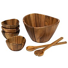 image of Lipper International 7-Piece Acacia Wave Salad Serving Set