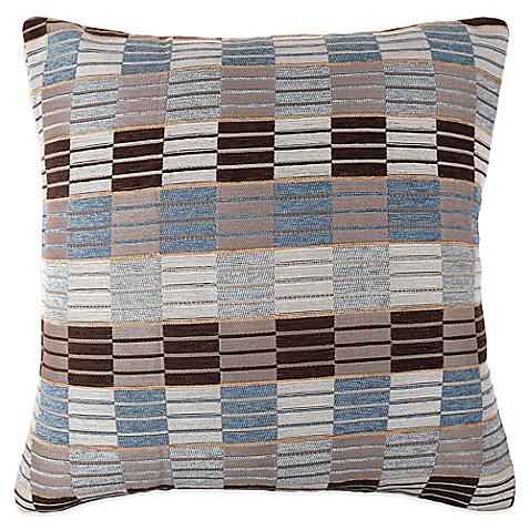 buy make your own pillow stripe ladder square throw pillow cover in blue grey from bed bath. Black Bedroom Furniture Sets. Home Design Ideas