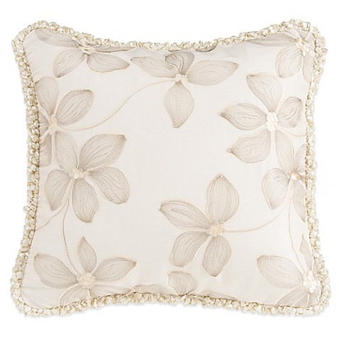 Glenna Jean Florence Embroidered Floral Throw Pillow Bed