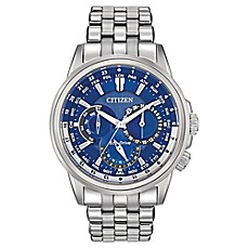 image of Citizen Eco-Drive Men's 44mm Calendrier Blue Dial Watch in Stainless Steel