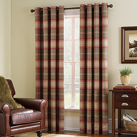 Highland Check Grommet Top Window Curtain Panel - Bed Bath & Beyond
