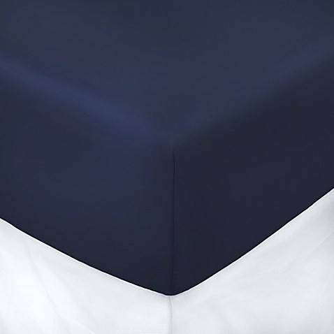 buy 250 thread count 39 inch x 75 inch with 10 inch deep pocket twin fitted sheet in navy from. Black Bedroom Furniture Sets. Home Design Ideas