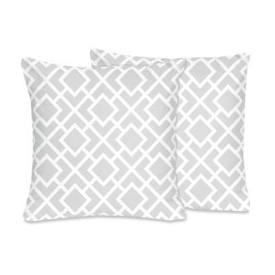 Sweet Jojo Designs Diamond Throw Pillow in Grey/White (Set of 2) - Bed Bath & Beyond