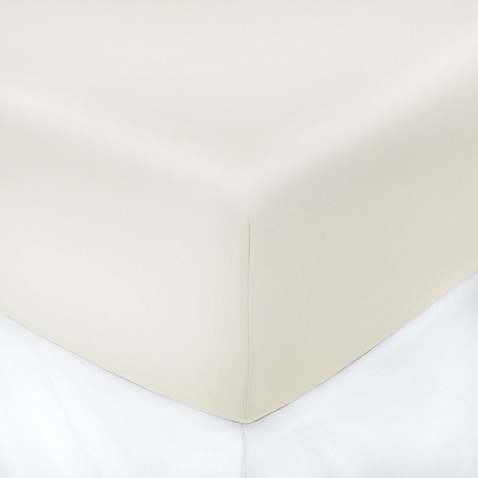 buy 250 thread count 54 inch x 75 inch with 8 inch deep pocket cotton full fitted sheet in ivory. Black Bedroom Furniture Sets. Home Design Ideas