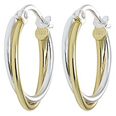image of 18K Gold-Plated and Sterling Silver Thin Twist Hoop Earrings