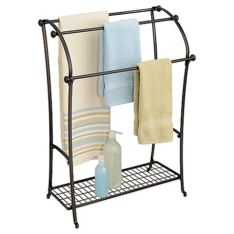 image of InterDesign  York  Lyra Free Standing Towel Stand in Bronze. Bath Towel Racks  Stands  Holders   Warmers   Bed Bath   Beyond