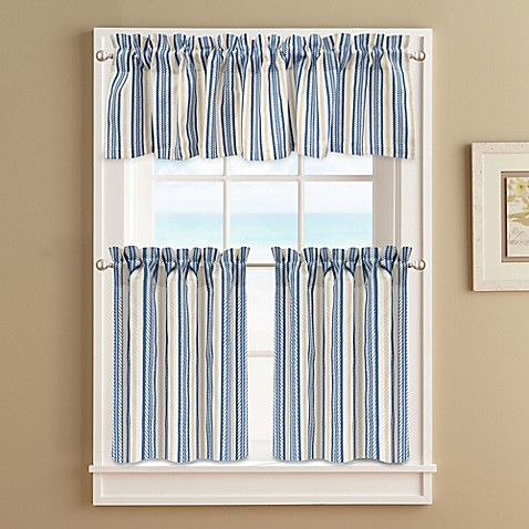 Buy Ropes 36–Inch Window Curtain Tier Pair in Blue from Bed Bath Beyond