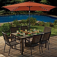 image of 11-Foot Rectangular Aluminum Solar Patio Umbrella