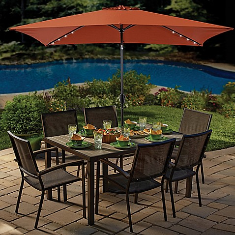 Image Of 11 Foot Rectangular Aluminum Solar Patio Umbrella