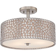 image of Quoizel Confetti Large Semi-Flush Mount in Old Silver with White Linen Shade