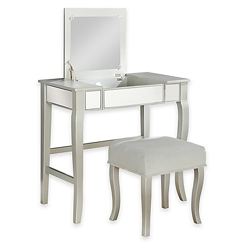 Image Of Linon Home Harper Vanity Set In Silver