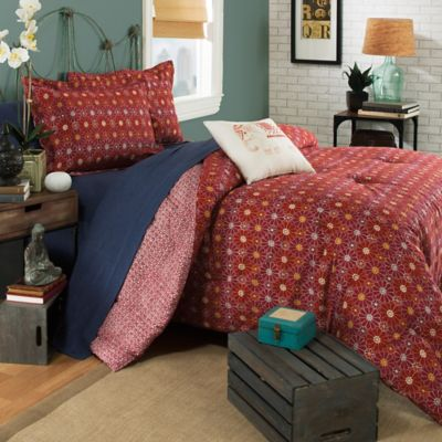 image of Brooklyn Flat Ceylon Reversible Duvet Cover in Red