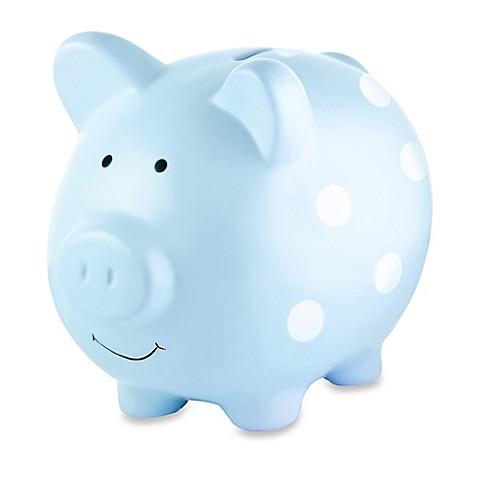 Pearhead Large Ceramic Polka Dot Piggy Bank Bed Bath