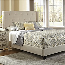 image of pulaski all n one fully upholstered queen shelter bed in stone - Picture Of Furniture For Bedroom