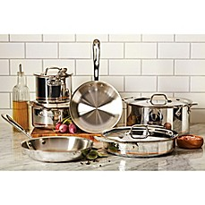 image of allclad copper core 10piece cookware set and open stock