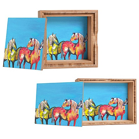 DENY Designs Clara Nilles Painted Ponies on Turquoise Jewelry Box