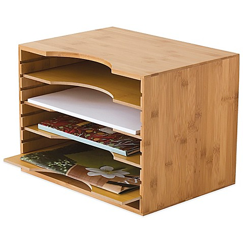 Lipper Bamboo File Organizer with 4-Dividers in Natural - Bed Bath ...