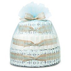 image of Honest® Large Diaper Cake in Anchors and Stripes