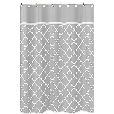 Sweet Jojo Designs Trellis Shower Curtain In Grey White Bed Bath Beyond