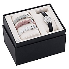 image of Bulova Ladies' 32mm Mother of Pearl Dial Watch in Stainless Steel with Leather Strap Set