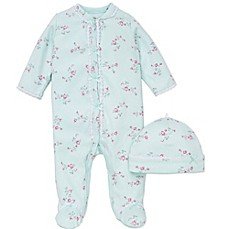image of Little Me® 2-Piece Floral Spray Footie and Hat Set in Aqua