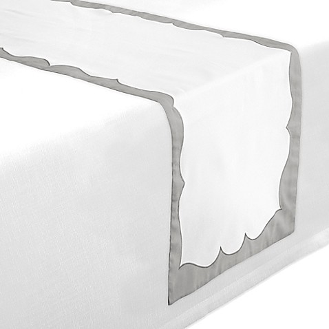 Buy waterford linens cassia 90 inch table runner in white for Table runners 52 inches