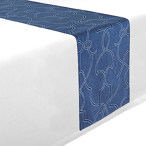 Buy waterford linens marilla 70 inch table runner in navy for Table runners 52 inches