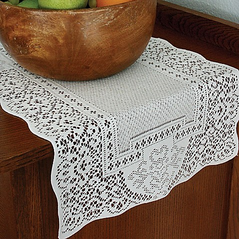 buy heritage lace canterbury classic 36 inch table runner in white from bed bath beyond. Black Bedroom Furniture Sets. Home Design Ideas