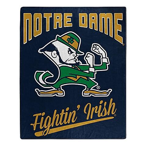 University Of Notre Dame Plush Raschel Throw Blanket Bed
