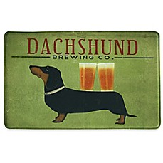 image of Bacova Dachshund Brewing 23-Inch x 36-Inch Memory Foam Kitchen Mat in Green