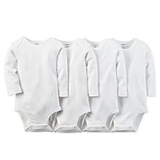 image of carter's® 4-Pack Size 3 Months White Long Sleeve Bodysuits