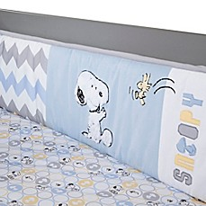 image of Lambs & Ivy® My Little Snoopy™ 4-Piece Crib Bumper Set