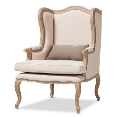image of Auvergne Wood Traditional French Accent Chair in Beige