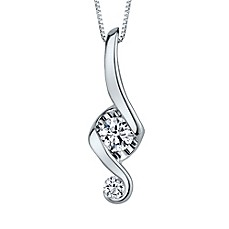 image of Juno Lucina 14K White Gold and Diamond 18-Inch Chain Love and Protection Pendant Necklace