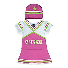 image of Sozo® 2-Piece Cheerleader Bodysuit and Cap Set in Pink/White